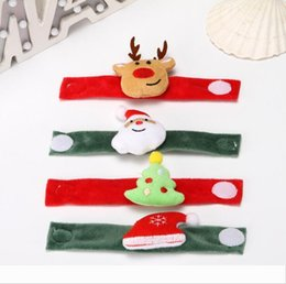 Christmas Patting Circle Bracelet Watch Xmas Children Gift Santa Claus Snowman Deer New Year Party Toy Wrist Decor 888