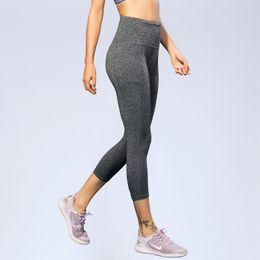 56a018c00115 High waist Elastic women Mesh Legging pants Black sexy Fitness sport Capri  Pants with pocket Cropped trousers Yoga leggings