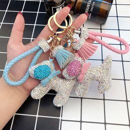 $enCountryForm.capitalKeyWord Australia - PU leather key chain creative personality cute luxury diamond-studded dog key chain female braided rope car bag key ring accessories gift pe