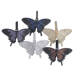 Wholesale New Women Man Custom Full Iced Out Colored Butterfly Wings Pendant Necklace With Rope Chain Gold Silver Color Hip Hop Charm Chain Jewelry Fo