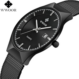 $enCountryForm.capitalKeyWord Australia - Watches Top Brand Luxury WWOOR Simple Slim Date Quartz Watch Men Wristwatch Business Black Mesh Male Watch Relogio Masculino Men Watches