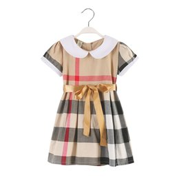 children clothing patterns UK - Retail princess kids girls dresses fashion plaid pattern white collar new arrival children clothes with bow belt