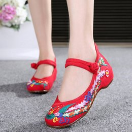 9a62d7cf5c4 Chinese Shoes Women Embroidery Mary Jane Fabric Flats Traditional Embroidered  Old Peking Flower Canvas Casual Large Size 41