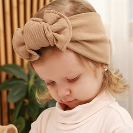 Fat laces wholesale online shopping - new children s cotton hair accessories ribbed fat knotted bow wide hair band infant autumn and winter clothing accessories