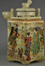 $enCountryForm.capitalKeyWord Australia - 6 .75 inch Old Collectible Porcelain Draw Landscape & Dowager 2 Layer Tea Pot