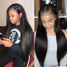 Black real human hair wigs online shopping - Fake Scalp Wigs Pre Plucked Bleached Knots Long Straight Peruvian Virgin Glueless Real Human Hair Fake Scalp Lace Wigs For Black Women