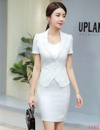 $enCountryForm.capitalKeyWord Australia - New 2019 Summer Formal Ladies White Blazer Women Business Suits with Skirt and Jacket Sets Work Wear Office Uniform Styles