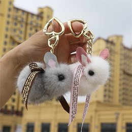 Discount mobile phone keyrings - Cute Fluffy Mini Keychain Genuine Key Chains For Women Bag charm Toys Mobile phone pendant Metal ring Keyring