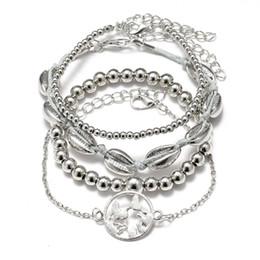 $enCountryForm.capitalKeyWord Australia - 2019 New Style Ancient Silver Shell Map Beaded Four-piece Bracelet Set Europe United States Popular Hot Couple Bracelet Jewelry Holiday Gift