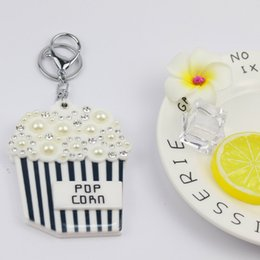 $enCountryForm.capitalKeyWord Australia - Popcorn mirror compact keychain hot welcomed design lovers key ring custome acrylic key charms gifts fashion accessores promotion styles