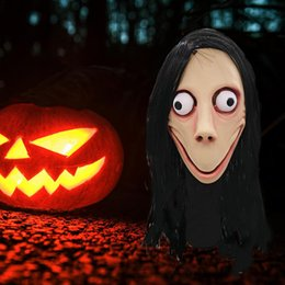 Festival wigs online shopping - Death Game MOMO Mask No Bang Style SCARY Mask Tern Halloween Female Ghost Wig Masks Festival Party Playing Supplies
