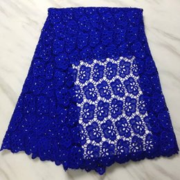 $enCountryForm.capitalKeyWord NZ - 5 Yards pc Beautiful royal blue african water soluble lace embroidery for french guipure lace fabric with rhinestone for dress BW162-2