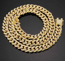 $enCountryForm.capitalKeyWord Australia - 18K Gold Plated Miami Curb Cuban Chain Necklace 12mm Iced Out Box Rhinestone Clasp Copper Mens