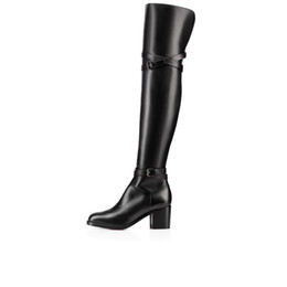 Pig dress online shopping - Women Winter Boots Red Bottom Boot Tall Boots high shoes sexy red soles over knee boot Karialta black genuine leather party wedding dress