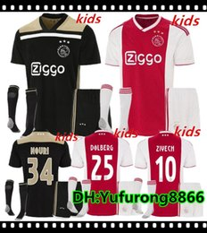 0309006fa70 2018 2019 Ajax FC Home away Soccer Jerseys kids kits + socks 18 19 Camisa  ZIYECH KLUIVERT NOURI DOLBERG YOUNES Jerseys Football Shirts sets