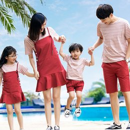 $enCountryForm.capitalKeyWord UK - Matching Outfits Summer Dresses and Sundresses Mommy and Me Mom Daughter Clothes Baby Girl Clothes Red White Stripes Sets