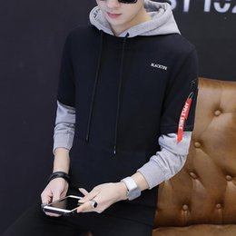 false two sweaters Australia - Cool2019 Clothing Autumn Spelling Color Even Hat Teenagers False Two Paper Leisure Time Self-cultivation Pullover Sweater