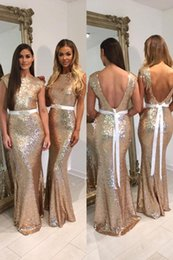 gold sequin prom dress short Australia - 2020 Stunning Gold Sequins Backless Bridesmaid Dresses Bateau Cap Short Sleeves Ribbon Cheap Designer Wedding Party Prom Formal Gowns