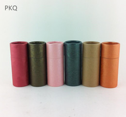 bottle boxes packaging NZ - 50pcs Round Kraft Paper Jar Packaging Box Essential Oil Bottle Packing Paper Tube Lipstick Perfume Box 10 20 30 50 100ml