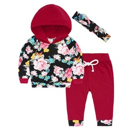 girls hooded tracksuits UK - Baby Girls Hoodie Jacket Cotton Long Sleeve Floral Hooded Coat Top Pants Outfit Tracksuit Baby Girl Hoodies Clothes Set