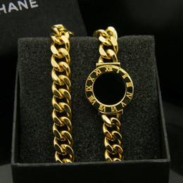 $enCountryForm.capitalKeyWord NZ - Fashion Thick Chain Bracelets OL Style Roman Numerals Black White Shell Compass Bracelet Women Stainless Steel Rose Gold Silver Bracelets