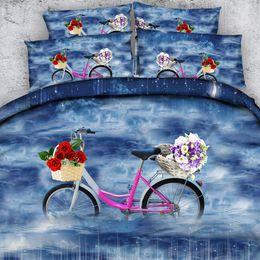 $enCountryForm.capitalKeyWord Australia - Blue Bicycle Duvet Cover Set 3 Piece Bedding Set 2 Pillow Shams Teen Girls Bike Floral Snowflake Bedspread Coverlets Moon Comforter Cover