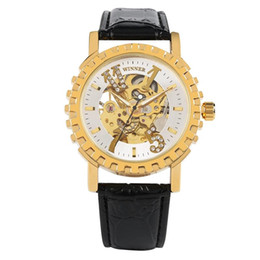 Luxury Watches Oversize Australia - Stainless Steel Mechanical Wristwatch with Oversize Numbers for Friends,Transparent Golden Gear Mechanical Watches Fluorescent Pointer