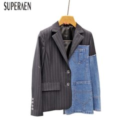 $enCountryForm.capitalKeyWord Australia - Superaen Europe New Fashion Temperament Women Jackets Stripe Stitching Denim Casual Suit Coats Female Wild Tops Autumn 2018 T3190614