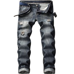 Trousers Size 38 UK - Newsosoo Fashion Plaid Patchwork Jeans Men's Slim Fit Straight Denim Trousers Hip Hop Bandage Jean Joggers For Male Size 28-38