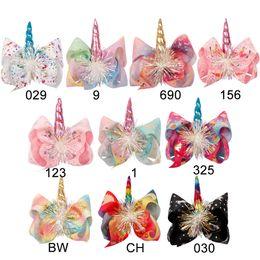 "$enCountryForm.capitalKeyWord NZ - 7"" Hair Accessories Hair Clips for Girls Unicorn Printed Hair Bows with Horn Colorful Flower Large Hairpins Fashion Handmade Kids Headwear"
