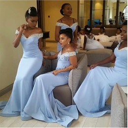 Blue Coral Beads Australia - Light Sky Blue Crystal Mermaid Bridesmaid Dresses Off Shoulder Sweep Train Beads Garden Country African Wedding Guest Gowns Maid Of Honor