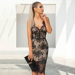black sexy ladies clothes NZ - Sexy V neck Lace Dress Women befree New Off Shoulder Black Backless Bodycon Dress Nightclub Ladies Party Dresses Vestido clothes MS-A131