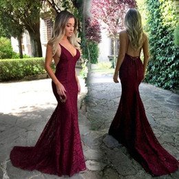 Backless Prom Dress Patterns Australia - 2019 New Pattern Burgundy Lace Evening Dress Mermaid Spaghetti Straps Backless Sweep Train Beach Style Prom Party Dresses