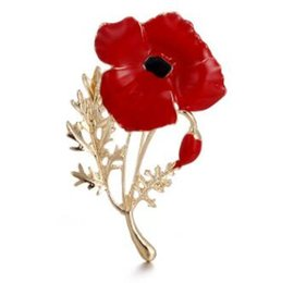 Bridal Brooch Flower UK - Fashion Gold Plated Red Flower Brooches Alloy Luxury Brooches Pins for Women Wedding Bridal Special Offer
