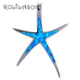 Blue Star Pendant Australia - jewelry button Huge Star design women necklace Fine Blue Fire Opal Silver Stamped Necklace Pendants Health Fashion jewelry OP504