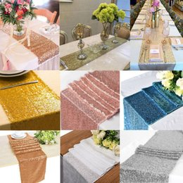 $enCountryForm.capitalKeyWord NZ - New Sequin Sparkly Satin Table Runner Solid Cloth Party Wedding Event Party Decor High Promotion Cool Rectangle Table Runner