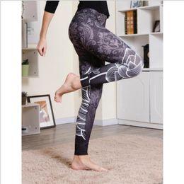 Wholesale Leggings Xl Australia - Ladies Fashion Casual Lotus Print High Waist Hip Fitness Leggings Leggings 2d Digital Tree Print Polyester S-xl