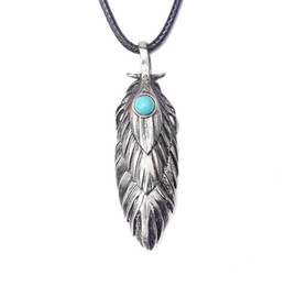 Turquoise Pendant Men Australia - Necklace Jewelry For Men New Fashion High Quality Black Wax Rope Turquoise Antique Silver Plated Alloy Feather Long Pendant Necklaces LN029