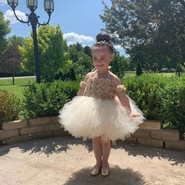 $enCountryForm.capitalKeyWord Australia - Cute Infant Mini Short Flower Girls Dresses 3D Flower Toddler Kids Ruffles Baby Girls Pageant Tutu Gowns
