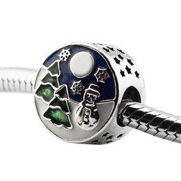 China Authentic 925 Sterling Silver Snowy Wonderland Beads Fit Charm DIY Bracelets Blue Sky Green Enamel Christmas Tree Beads for Jewelry Making cheap wonderland bracelet suppliers
