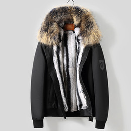 Real Fur Trimmed Jackets Australia - Real fur jacket men winter thick warm fur parka natural rex rabbit liner raccoon trim hood free shipping NPI 90213A