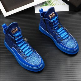$enCountryForm.capitalKeyWord Australia - New Autumn High Top Brand Men Casual Driving Shoes Fashion blue Products Breathable Stretch boots Designer wedding Shoes Z13