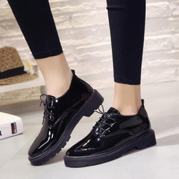 High Quality Women Oxfords Flats Platform Shoes Patent Leather Slip-on Pointed Creeper Black Brogue Loafers Brand