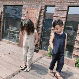 Summerstyle nuevos pantalones de algodón y cáñamo para niños Tablero coreano de algodón y cáñamo pantalones de color puro sin mangas para niños niñas en venta