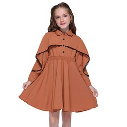 Ruffle Girl Dresses UK - Girls Fall Dresses For Kids England Style Clothes Fashion Long Sleeve Solid Ruffles Shawl Dresses Casual Outfits Vestidos J190614