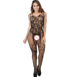 81a124da288 Sexy women Stockings Lace Mesh Erotic Hollow-out Crotchless Lingerie  Much-loved Floral Motif Mesh Full Body Stocking