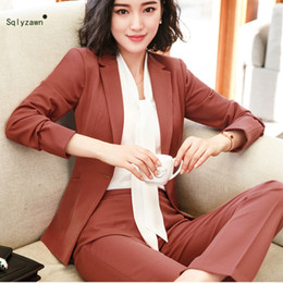 $enCountryForm.capitalKeyWord Australia - 2 Piece Caramel Pant Suits Formal Ladies Office OL Uniform Designs Women Elegant Business Work Wear Jacket with Trousers Sets