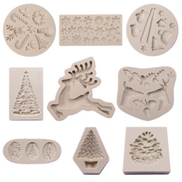 tree cutters tools NZ - Silicone Christmas Tree Elk Snowman Snowflake Pine Cone Cookie Cutter Mold Diy Chocolate Mould Baking Cake Decor Tools