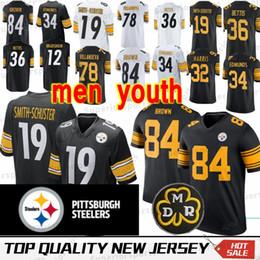 2f33f832c Pittsburgh 84 Antonio Brown Steeler jersey 19 Juju Smith 78 Alejandro  Villanueva 90 T J 26 Le Veon Bell MEN YOUTH Jerseys 100% Stitched