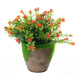 Discount flower pot crafts - Desktop Gift Artificial Plant Simulation Bonsai Party Supplies Ornaments Fake Flowers Wedding Potted Home Lightweight Cr